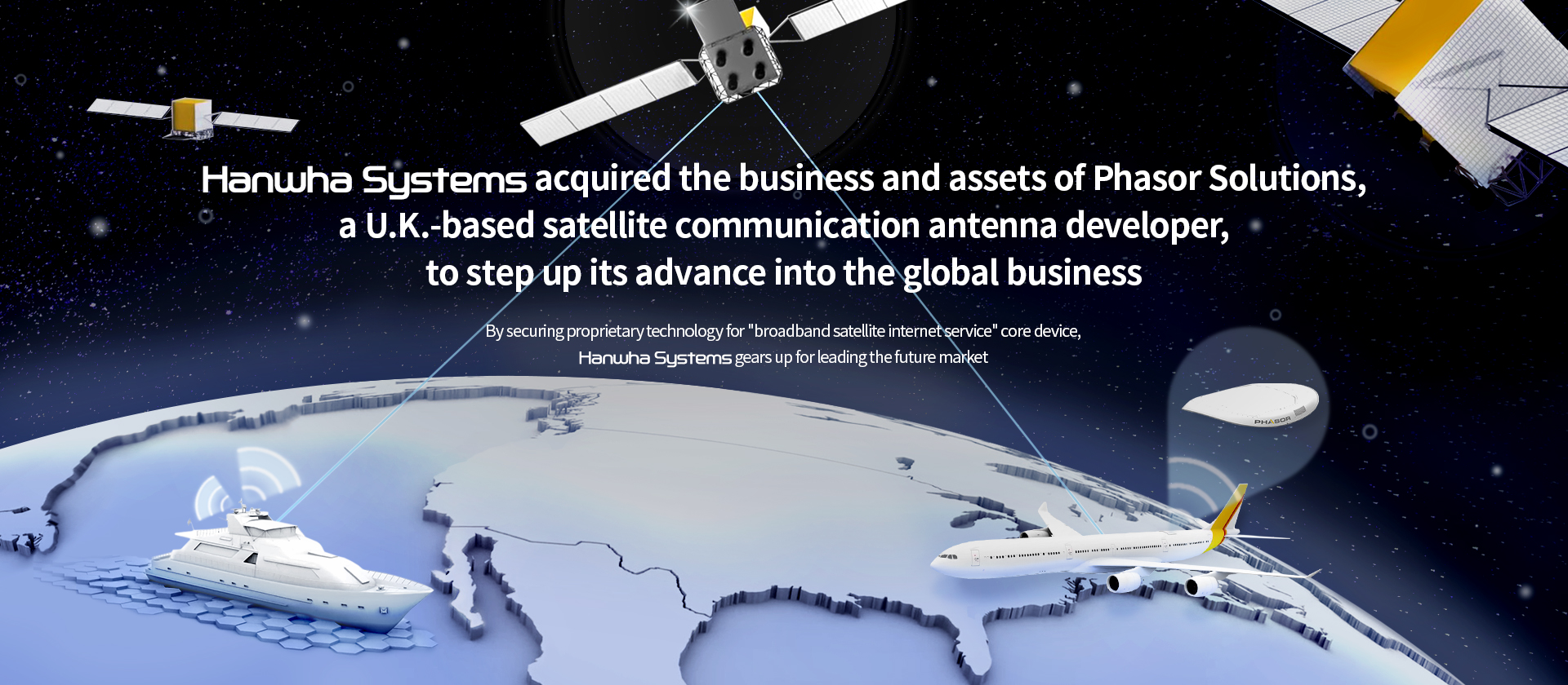 Hanwha Systems acquired the business and assets of Phasor Solutions, a U.K.-based satellite communication antena developer.